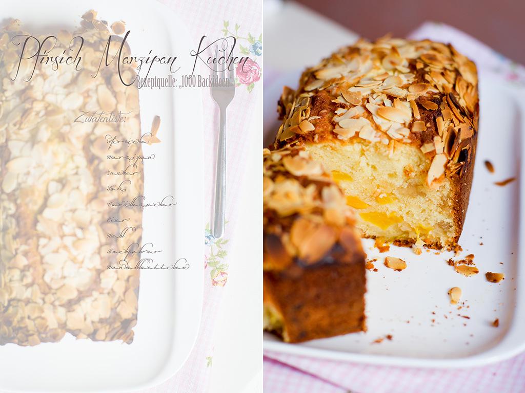 Collage Pfirsich Marzipankuchen